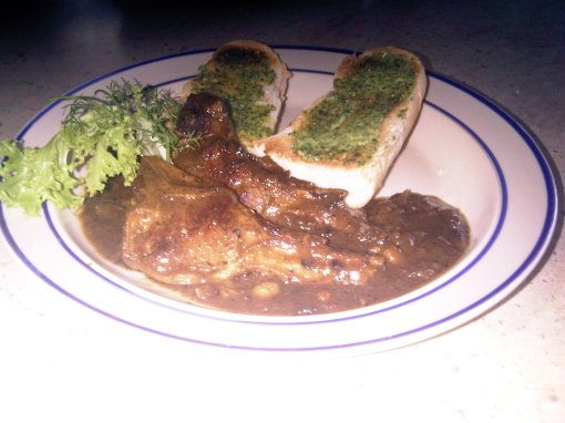 Lamb chops with a Citrus Rosemary sauce served with garlic aoili crostinis